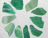 Assorted Green Faux Sea Glass undrilled lot - 10 pieces