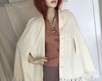 Vintage 1960s Pale Cream Acrylic Poncho Cape Fringed with Collar and Arm Slits One Size Warm Fabulous Condition Very Stylish