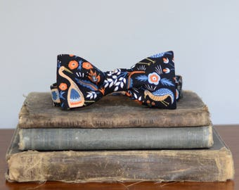 Nana modern black bow tie with bird and floral print