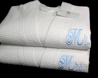 Mr and Mrs Cotton Anniversary Gift, Wedding Day Robes, Cotton Waffle Robe Set,  jfyBride, 1513