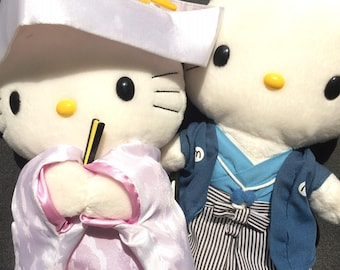 Hello Kitty and Dear Daniel stuffed dolls in Japanese Wedding Dress - McD Sanrio Asia Couple Doll Collectible Vintage