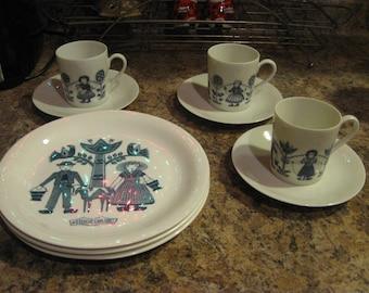 3 piece set cups saucers and plates made in holland  volendam Middelburg Nunspeet