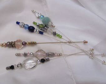 """Hat Pin Beaded Brooch Lapel Hat Hijab Scarf Pin Stick 5"""" Inch Long - Many to Choose From! (#02)"""