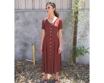 Vintage long polka dot dress with scalloped trim