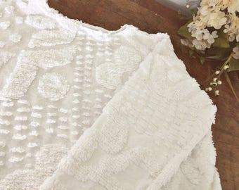 Crisp White Vintage Chenille Sweater