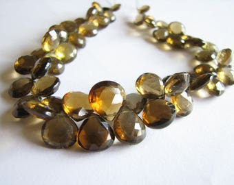 Whiskey Quartz faceted heart briolettes, brown quartz beads, high quality, teardrops, full 8 inch strand, 7-11mm (w158)