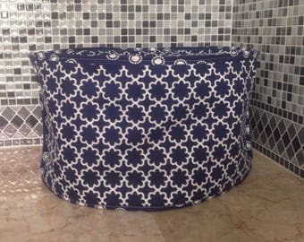 Navy Blue and White Modern Print Oval Crock Pot Cover Ready to Ship