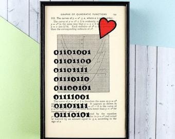 SUMMER SALE Boyfriend Gift - Gift for Him - Geek Art - Geek Gift - Valentine's Day Gift - Binary Code - I Love You Print - Nerd Couple - Gee