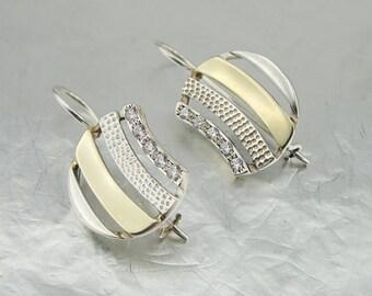 925 Silver 9K Yellow Gold White CZ Earrings, Long Earrings, Free Shipping, Wedding Gift, Bridal Jewelry, Birthday, Wife, Jewelry Set ( 2624