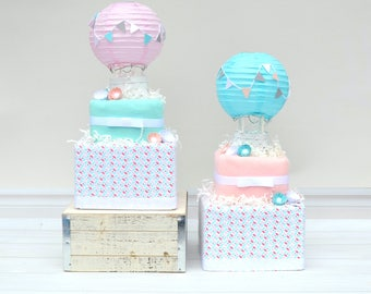 Hot Air Balloon Shower, Up and Away Shower Gift, Pink Aqua Shower, Girl Baby Shower Gift, Unique Newborn Gift, Hot Air Balloon Theme Shower
