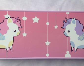Unicorn pencil tin, unicorn pencil case, cute unicorn, cute stationary tin, pastel goth, school supplies, unicorn stationary, back to school