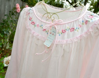 Vintage Sears Nightgown - Embroidered Flowers - Semi Sheer Pink Nylon NWT