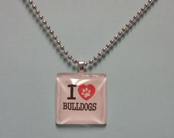 I LOVE MY DOG Glass Necklace