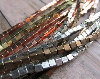 3mm Cornerless Cube Strand African Metal Beads, Choice of Finish, African Brass Beads, African Beads, Brass Beads, Bead Strands