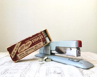 Vintage Swingline Stapler No. 400 S, Grey and Red, Mid Century Industrial Office Supply