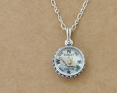 sterling silver compass necklace - GUIDANCE - antiqued sterling silver necklace with miniature working compass, vintage style, long chain,