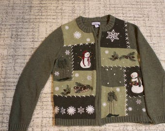 Vintage Women's ugly Christmas sweater with snowmen size small by Croft & Barrow