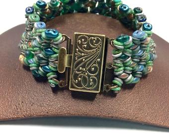 Teal Green Woven Bracelet, Spring Meadow Woven Boho Bracelet, Handcrafted Glass Bracelet