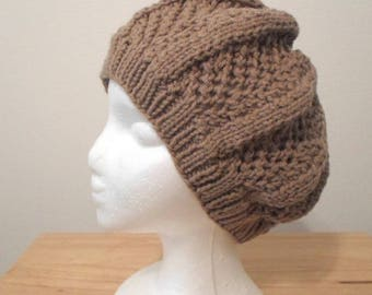 Handknitted Beret  - Made of Acrylic Yarn in Light Brown / Dark Beige
