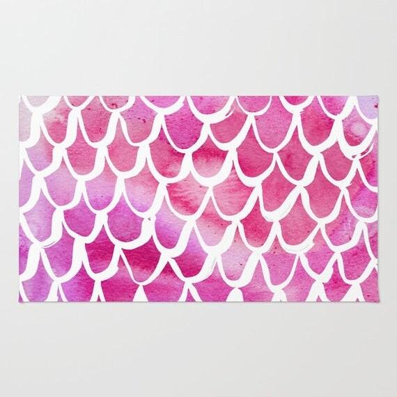 Mermaid rug - Area Rug - Pink Throw Rug - Carpet - Accent Rug - Floor Rug - Watercolor Rug - 2 x 3 rug - 3 x 5 rug - 4 x 6 rug