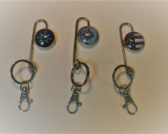 Key Finder with Keyring Metal with Handmade Round Photo Glass for Your Purse or Bag or Pocket, KF8, KF3, KF6