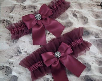 Burgundy maroon Wine Tulle Wine Satin Rhinestone Bridal Wedding Garter Toss Set