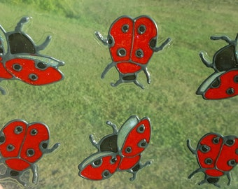 Ladybugs 6 stained glass window cling