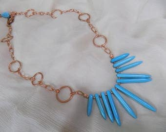 Turquoise Stick and Copper Chain Necklace
