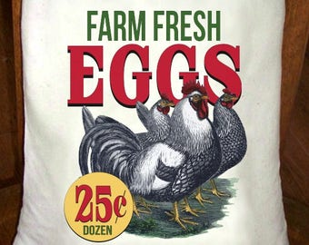 Feed Sack, Flour Sack Bag, Chicken Sack, Prim Decor, Country Decor, Muslin Bag, Vintage Feed Sack, Cotton Sack, Farm Fresh Eggs 25 Cents
