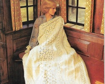 Bernat Treasury of Afghans Vintage Patterns 7 Crochet 9 Knit Each Beautiful Blanket Design is Unique 37 Pages