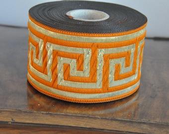 Orange  and Gold  Greek Key Jacquard  Ribbon  Trim