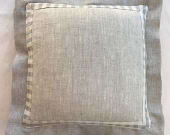Flax/ Natural Linen with  Gingham Border & Neutral Linen with Sheen Flange