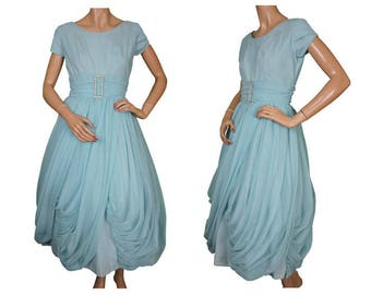 Vintage 1950s Party Dress - Blue Nylon - Bubble Hem