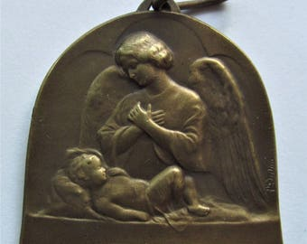 Antique Guardian Angel And Baby French Religious Medal Catholic Art Deco Pendant  SS472