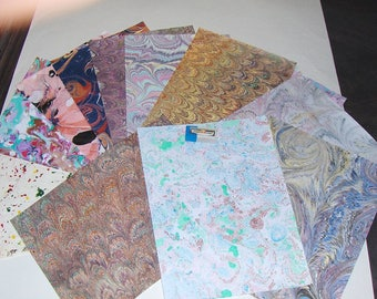 marbled paper, ,pack 12,   marmorpapier. decorative paper, -  cm 25 x 17,35  -  439