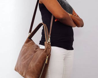 Leather Hobo Bag  Shoulder Leather Bag women bag Soft leather bag Laptop bag Dark brown leather bag