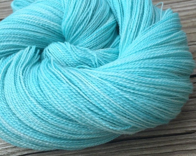 hand dyed lace weight yarn Kiss From a Mermaid Silk Treasures Lace yarn merino silk 875 yards hand dyed yarn turquoise teal blue green