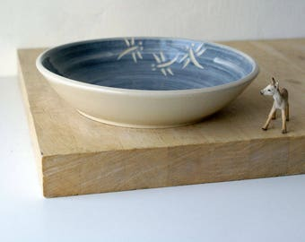 SECONDS SALE - Hand carved dragonfly platter dish in blue and simply clay