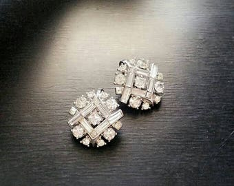 Vintage Rhinestone Trifari Earrings, Crystal Rhinestone Clip On Earrings, Round Silver Rhinestone Earrings, Vintage Designer Bridal Jewelry