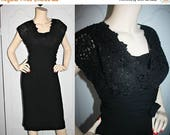 ON SALE Vintage 1950's Cocktail Dress. Black Lace, Ruched Waist with Bow, Sarong Skirt. Large.