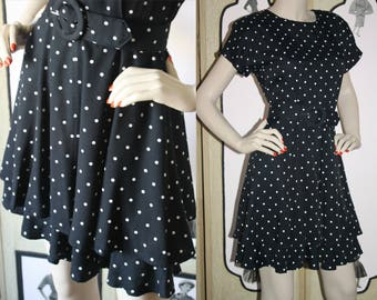 Vintage 1980's Tiered Dress in Black and White Polka Dots and Wide Belt. Ms. Choice California. Small Petite.