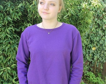 SPRING SALE Vintage Sweater, Athletic Sweater, Pullover, Lilac Pullover, Basic Sweater, Cotton Sweatshirt, 80s, 90s Basic Pullover, Medium L