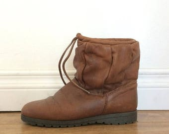 SUMMER SALE Leather Ankle Boots, Shearling Winter Boots, Slouchy Boots, Boho Boots, Brown Leather Boots, Sheepskin Boots, Warm Winter Boots,