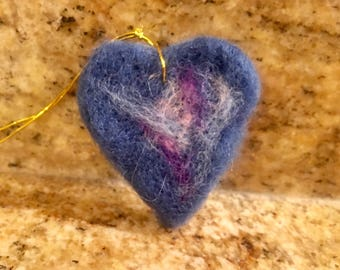Needle-felted Blue Heart Ornament