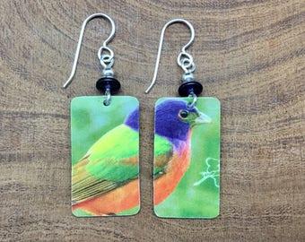 Repurposed Audobon gift card earrings, varied bunting.