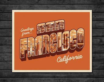 Greetings From San Francisco Art Print