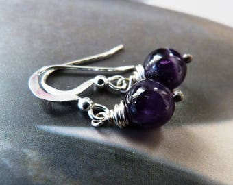 Amethyst silver earrings, Sterling silver rustic dangle, gift for wife, birthday present, 40th birthday gift, small gift, affordable
