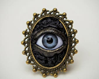 Black antiqued leather Gothic style ring. Steampunk Victorian Jewelry. Victorian ring. Evil eye ring. Statement ring.