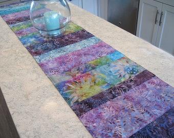 Aqua Purple Batik Table Runner Reversible 5 Sizes Turquoise Lavender Table  Runner Turquoise Table Decor Aqua