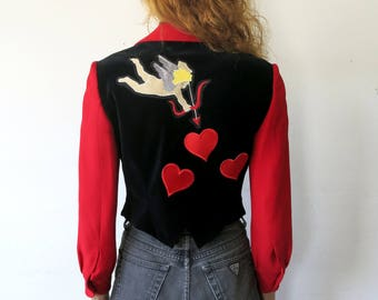 Cupid Jacket / Moschino X Rusty Cuts Velvet Heart Jacket / Sz S